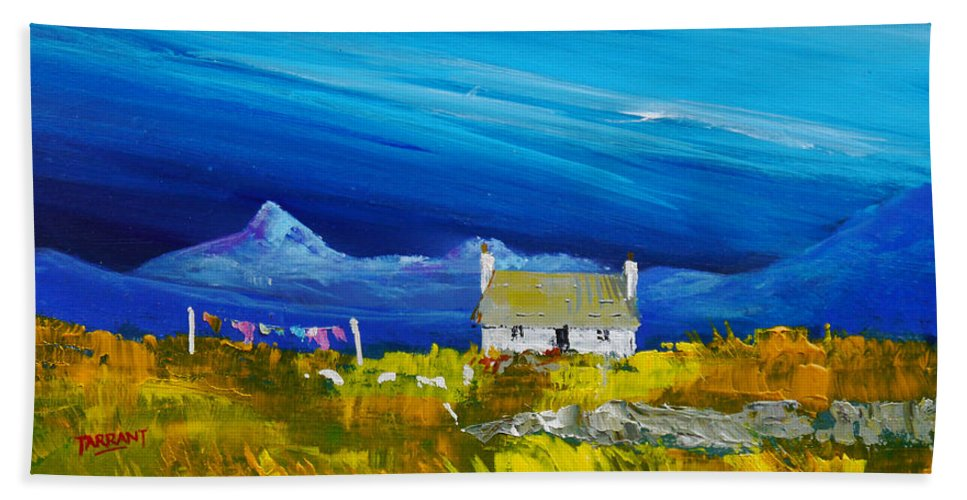Hand Towel featuring the painting Back Of Keppoch Cottage, Arisaig by Peter Tarrant