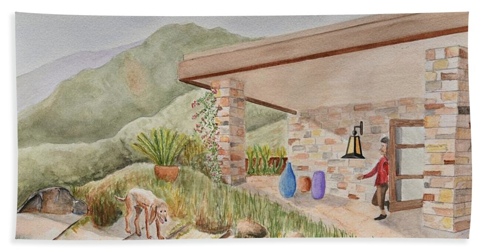 Linda Brody Hand Towel featuring the painting Back Patio by Linda Brody