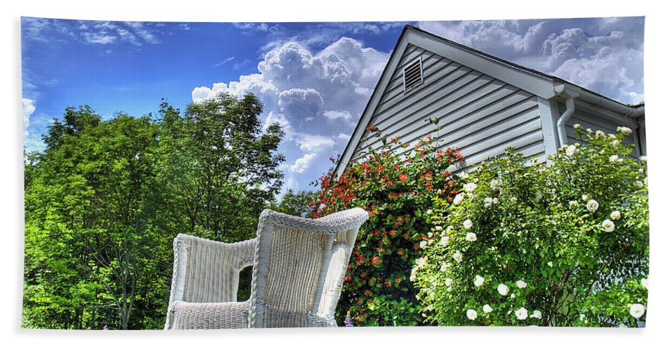 Vermont Bath Sheet featuring the photograph Back Porch In Summer by Tammy Wetzel