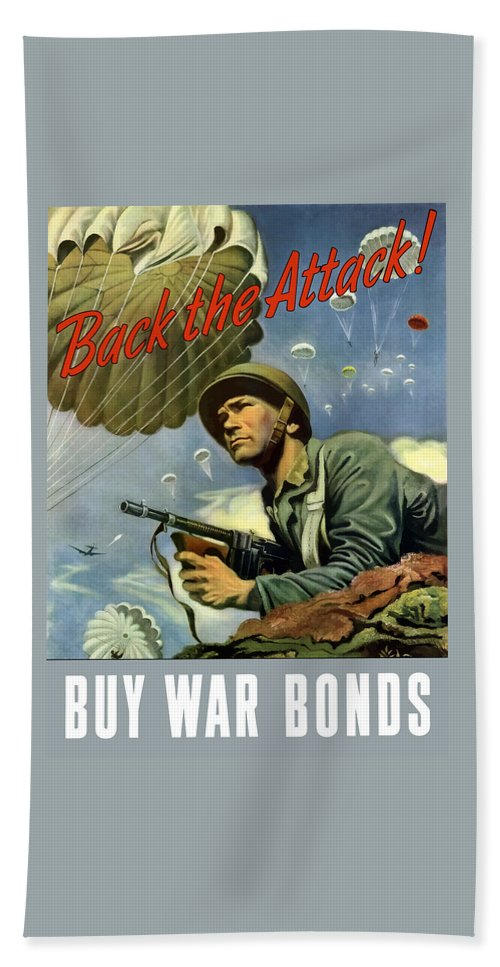 Airborne Bath Towel featuring the painting Back The Attack Buy War Bonds by War Is Hell Store