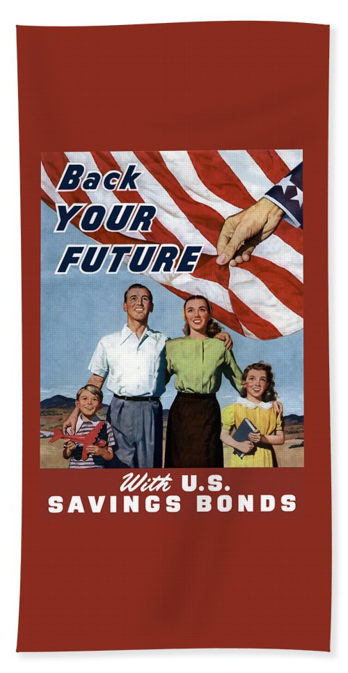 American Flag Hand Towel featuring the painting Back Your Future With Us Savings Bonds by War Is Hell Store