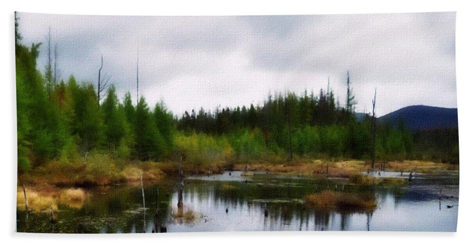 Adirondack Mountains Bath Towel featuring the painting Backcountry Lake - Adirondacks by Linda Seifried