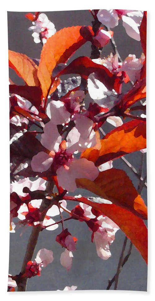 Floral Bath Sheet featuring the painting Backlit Pink Tree Blossoms by Amy Vangsgard