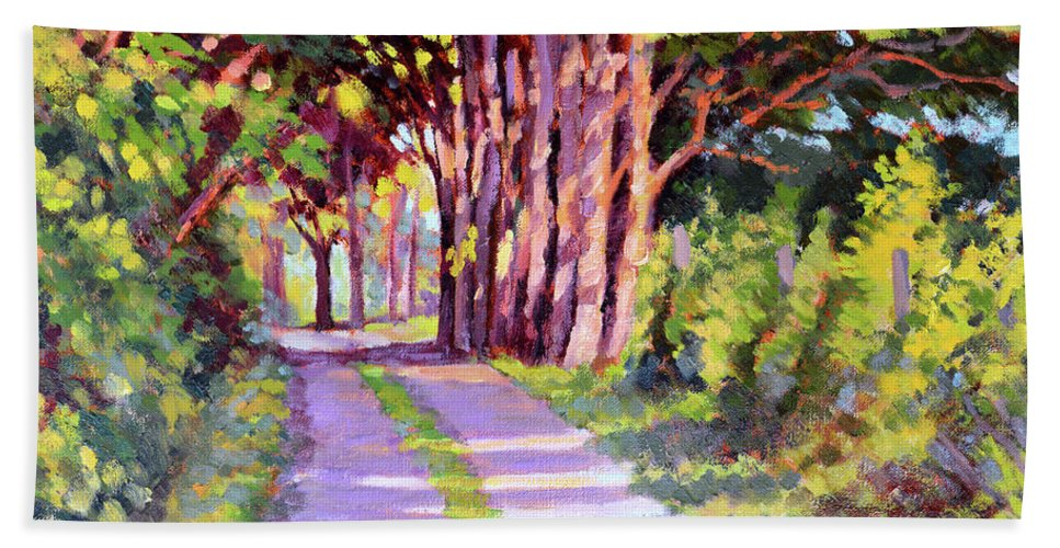 Road Hand Towel featuring the painting Backroad Canopy by Keith Burgess