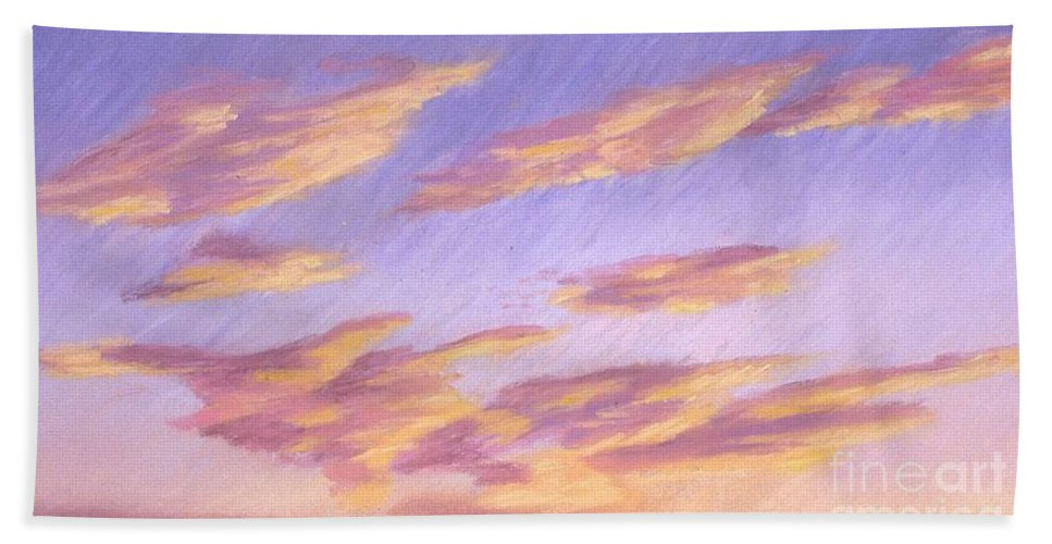 Sky Bath Sheet featuring the painting Backside Of Splender by Mary Erbert