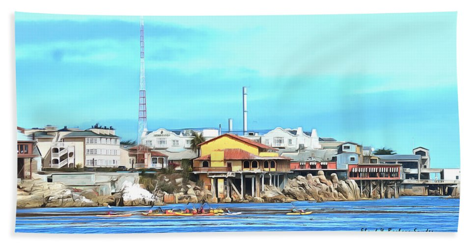 Barbara Snyder Hand Towel featuring the painting Fishermans Wharf 2 by Barbara Snyder