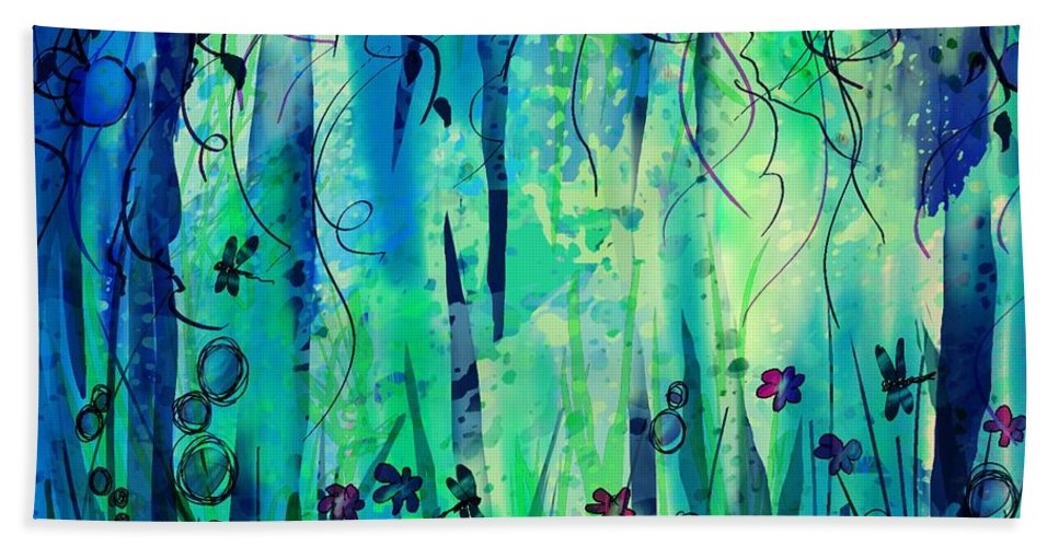 Abstract Bath Towel featuring the digital art Backyard Dreamer by William Russell Nowicki