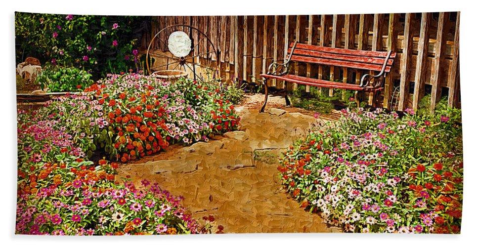 Pink Flower Bath Towel featuring the digital art Backyard Garden by Paul Bartoszek
