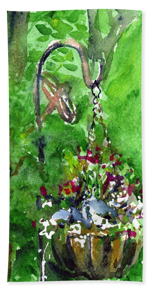Plant Hand Towel featuring the painting Backyard Hanging Plant by John D Benson