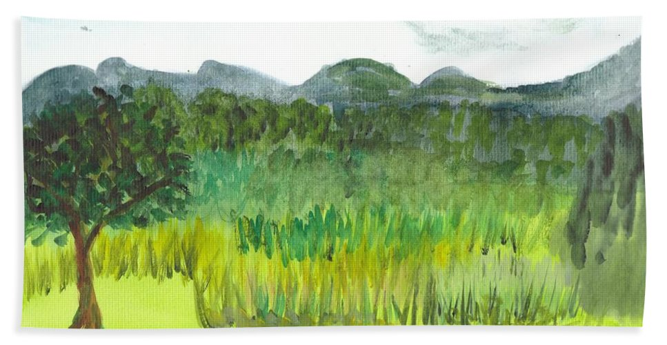 Barton Hand Towel featuring the painting Backyard In Barton by Donna Walsh