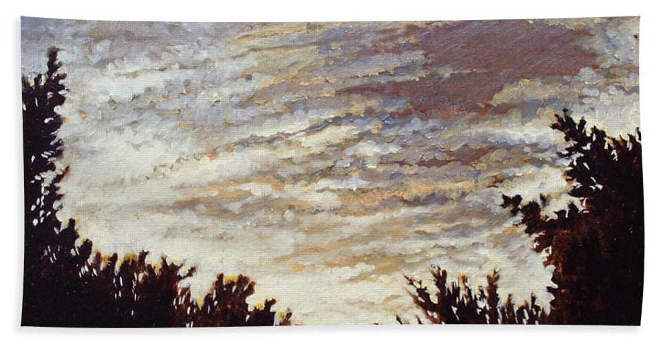 Landscape Bath Sheet featuring the painting Backyard Sunset by Todd Blanchard