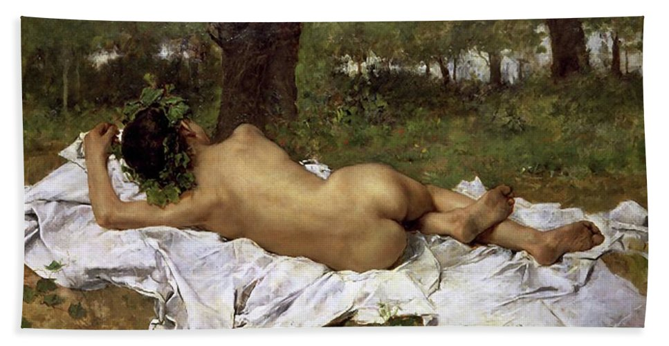 Baco Bath Sheet featuring the painting Baco Joven by Juan Joaquin Agraso