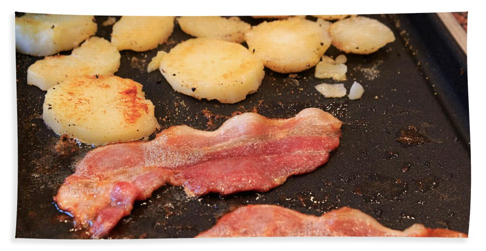 Bacon Hand Towel featuring the photograph Bacon And Potatoes On A Griddle by Louise Heusinkveld