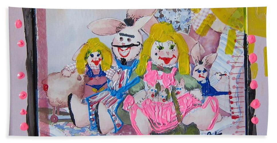 Adult Bath Sheet featuring the painting Bad Bunnies by Lisa Piper
