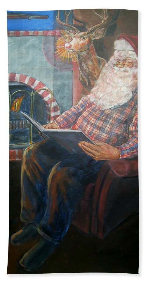 Christmas Bath Towel featuring the painting Bad Rudolph by Bryan Bustard