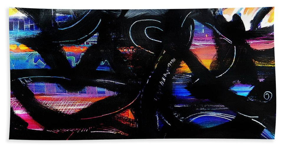 Original Painting On Canvas .abstract Bath Towel featuring the painting Badass Black by Priscilla Batzell Expressionist Art Studio Gallery