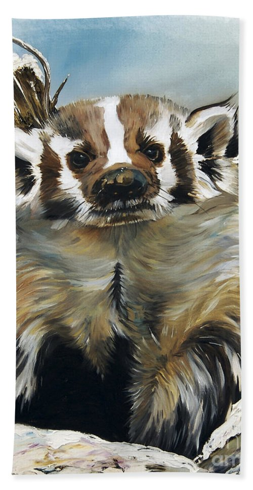 Southwest Art Bath Sheet featuring the painting Badger - Guardian Of The South by J W Baker