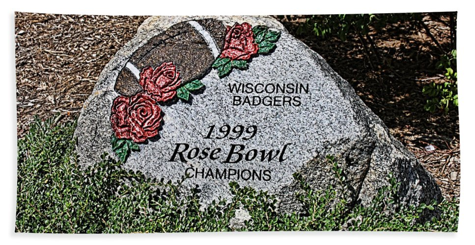 Camp Randall Hand Towel featuring the photograph Badger Rose Bowl Win 1999 by Tommy Anderson
