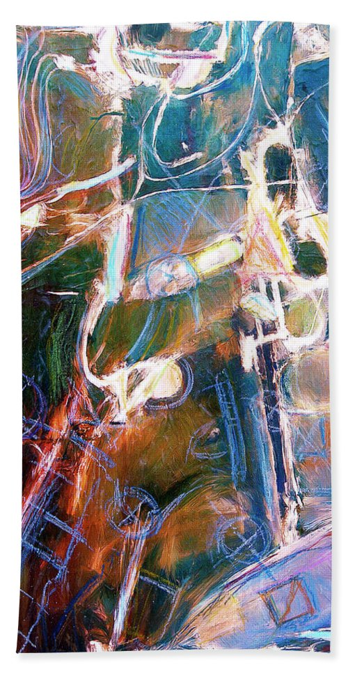 Abstract Hand Towel featuring the painting Badlands 1 by Dominic Piperata