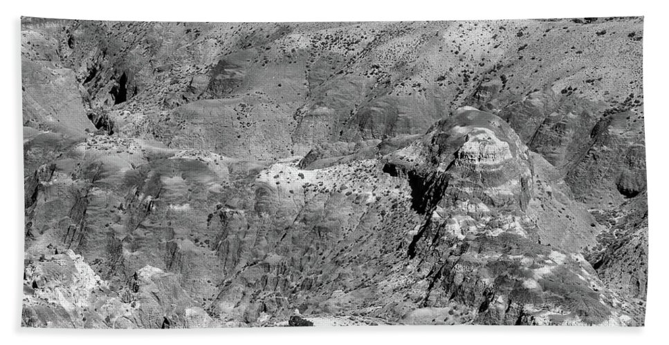 Black And White Badlands Hand Towel featuring the photograph Badlands by Jim Garrison