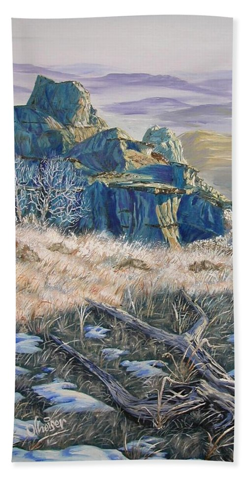 North Dakota Hand Towel featuring the painting Badlands Morning by Jim Olheiser