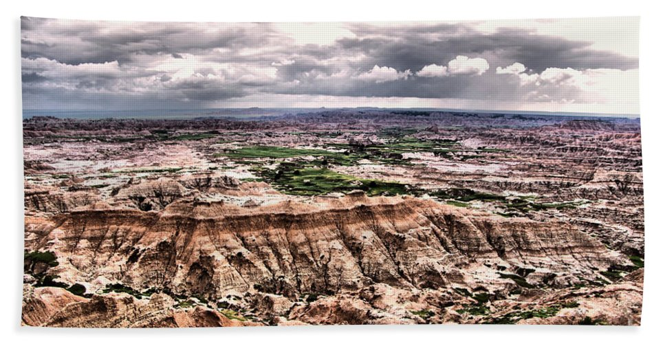 Badlands Bath Sheet featuring the photograph Badlands Panorama by Jeff Swan