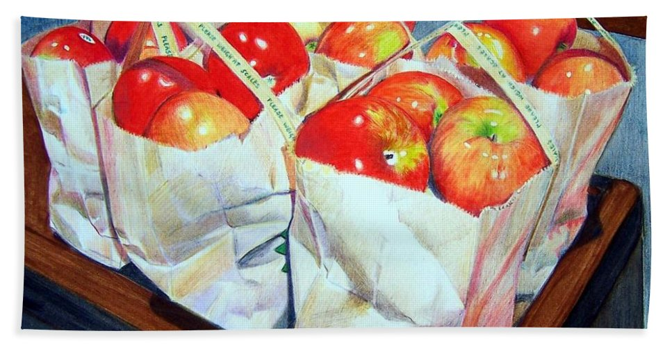Apples Hand Towel featuring the mixed media Bags Of Apples by Constance Drescher