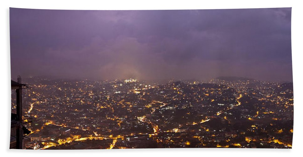 Panoramic Bath Sheet featuring the photograph Baguio At Night by George Cabig