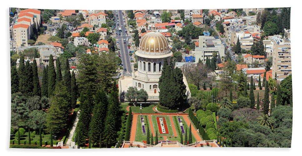 Haifa Hand Towel featuring the photograph Bahai World Centre by Munir Alawi