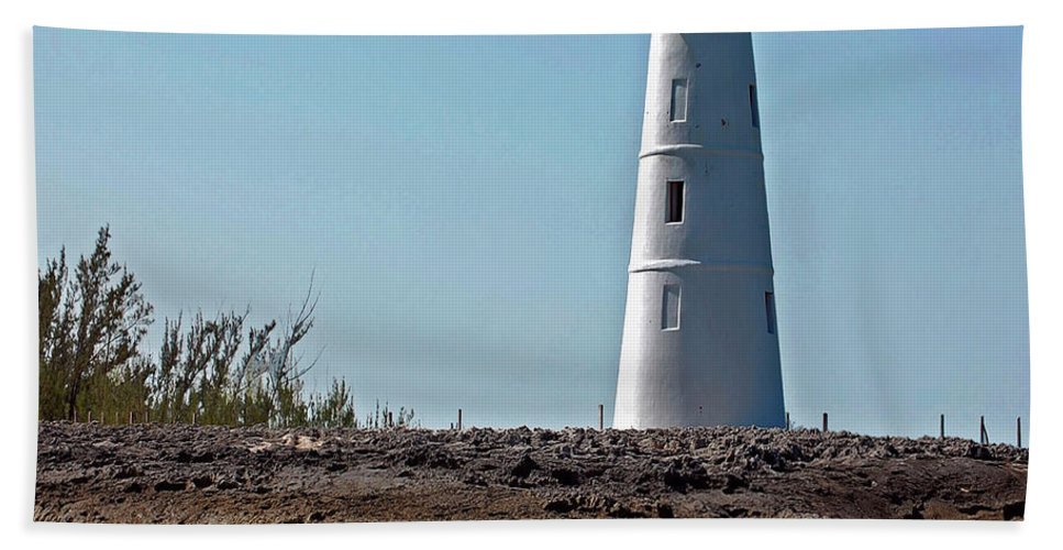 Ocean Bath Sheet featuring the digital art Bahamas Lighthouse by DigiArt Diaries by Vicky B Fuller
