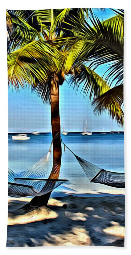 Tropical Hand Towel featuring the digital art Bahamas Vacation by Anthony C Chen