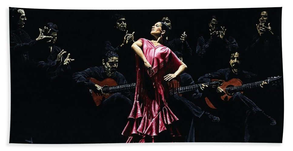 Flamenco Hand Towel featuring the painting Bailarina Orgullosa Del Flamenco by Richard Young