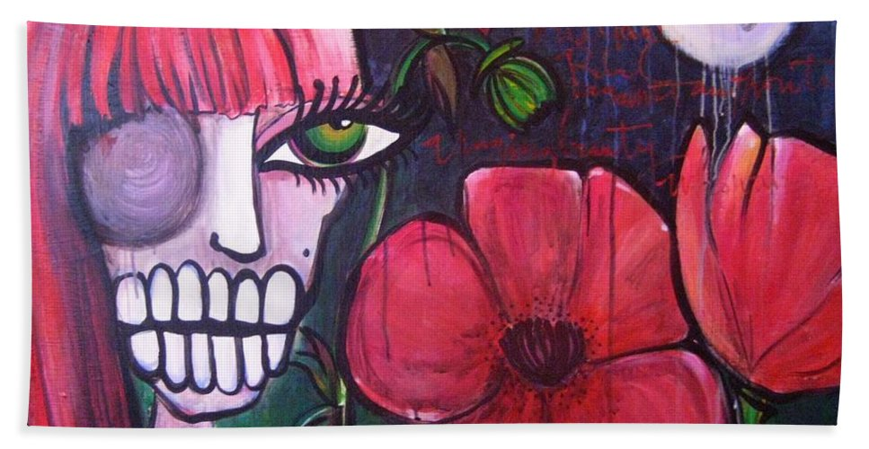 Skulls Bath Towel featuring the painting Baylee by Laurie Maves ART