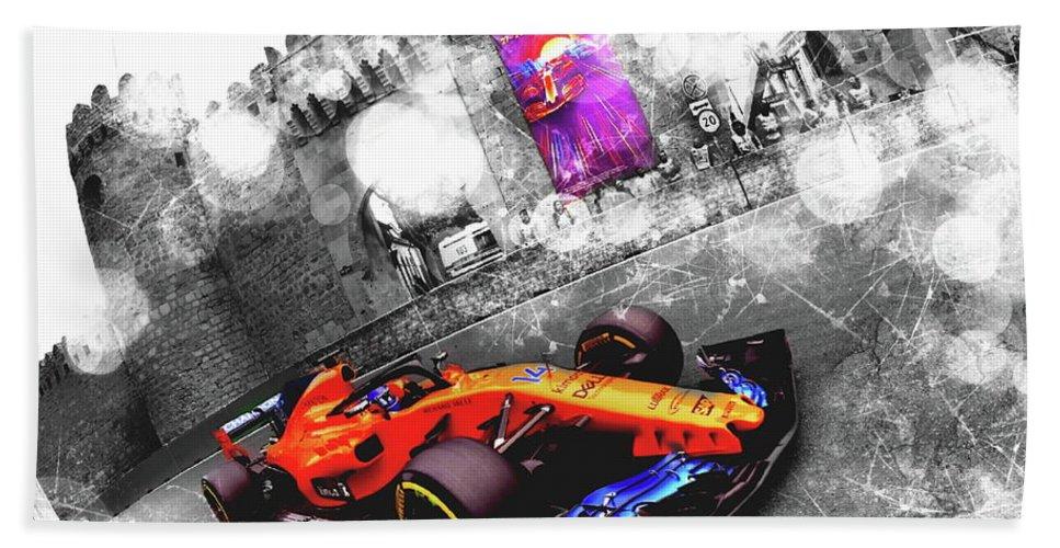 Racing Hand Towel featuring the digital art Baku 2018 - #14 Fernand Alonso by Jean-Louis Glineur alias DeVerviers