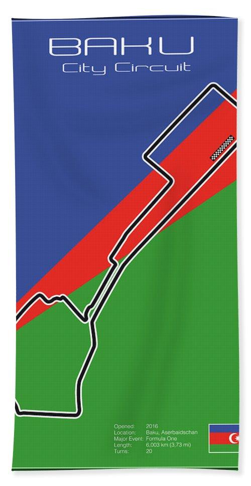 Racing Bath Sheet featuring the digital art Baku Race Track by Theodor Decker