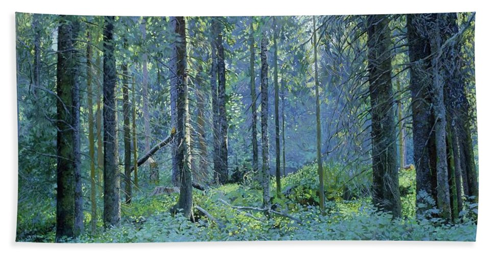 Balaam Hand Towel featuring the painting Balaam.thick Of The Forest by Simon Kozhin