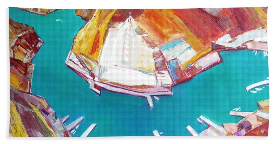 Ignatenko Hand Towel featuring the painting Balaklaw Bay by Sergey Ignatenko