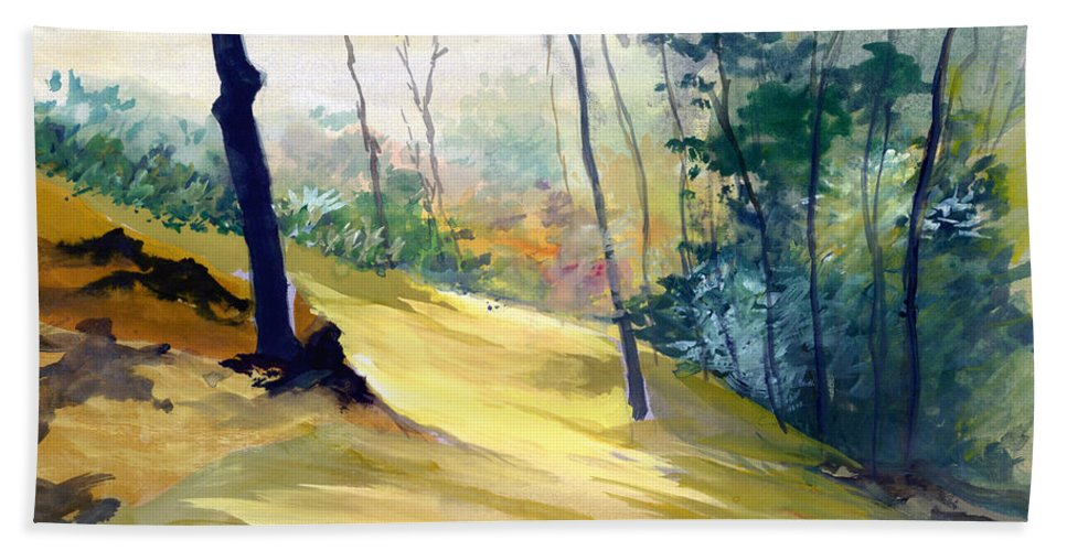 Landscape Bath Sheet featuring the painting Balance by Anil Nene