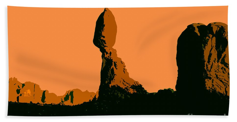 Balance Rock Hand Towel featuring the painting Balance Rock by David Lee Thompson