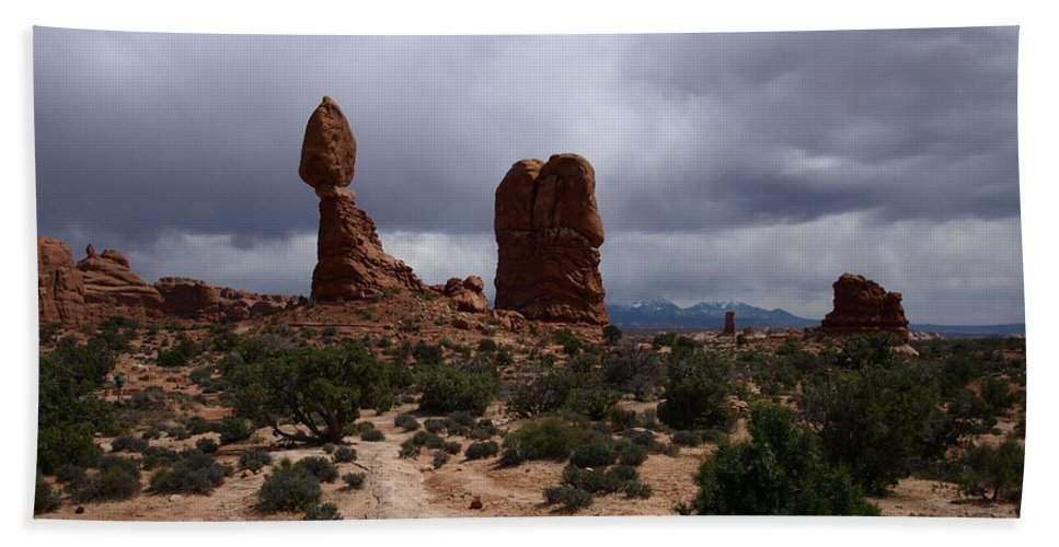 Balanced Rock Bath Sheet featuring the photograph Balanced Rock by Denise Ashley