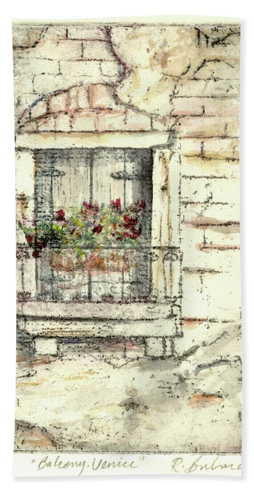 Venice Hand Towel featuring the painting Balcony Venice by Richard Bulman