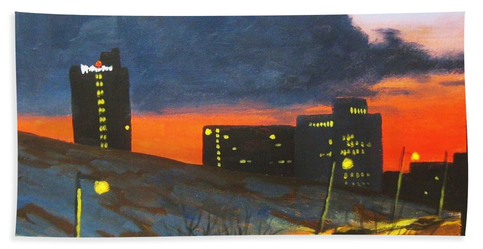 Sunset Hand Towel featuring the painting Balcony View 2 by John Malone