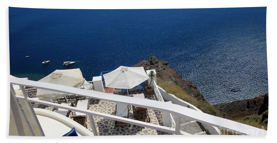 Santorini Hand Towel featuring the photograph Balcony View by Karen Norton