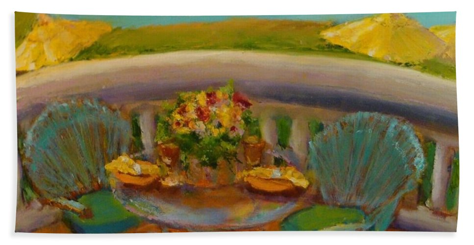 Flowers Bath Sheet featuring the painting Balcony View On Milton Island by Leslie Dobbins