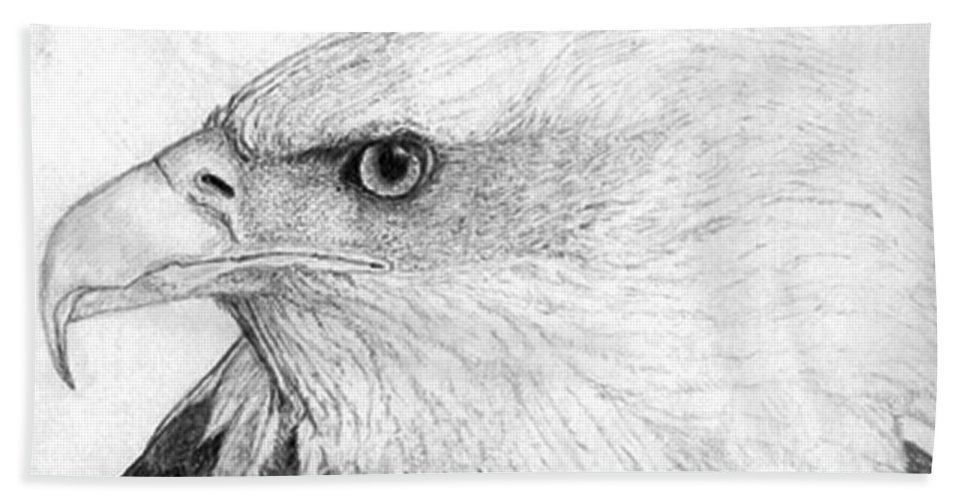 Pencil Drawing Bath Sheet featuring the drawing Bald Eagle Profile by Lucien Van Oosten