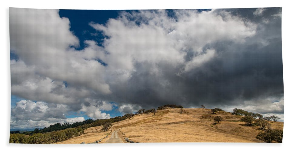 Road Hand Towel featuring the photograph Bald Hills In Summer 2 by Greg Nyquist