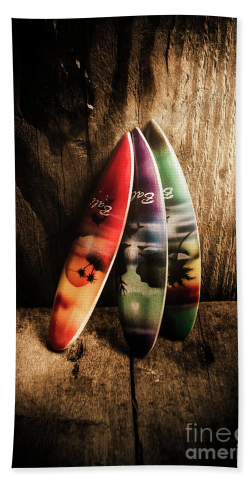 Surfboard Hand Towel featuring the photograph Bali Beach Surf Holiday Scene by Jorgo Photography - Wall Art Gallery