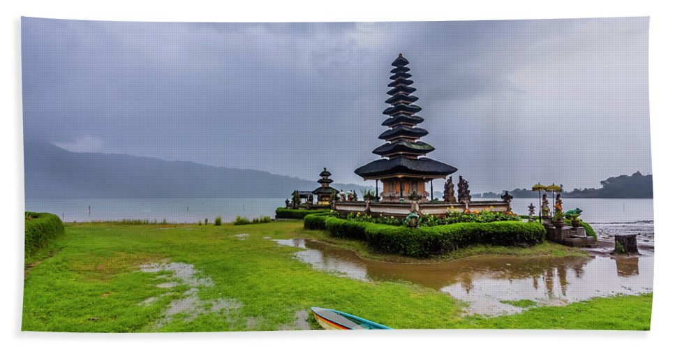 Ancient Bath Sheet featuring the photograph Bali Lake Temple by Jijo George