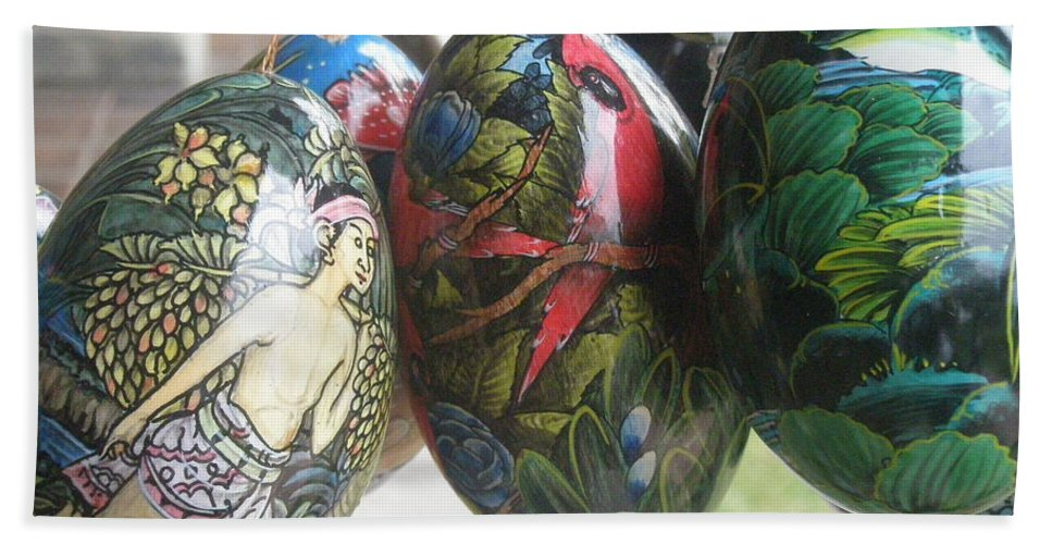 Bali Bath Sheet featuring the photograph Bali Wooden Eggs Artwork by Mark Sellers