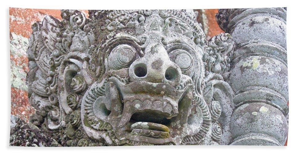 Bali Bath Sheet featuring the digital art Balinese Temple Guardian by Mark Sellers